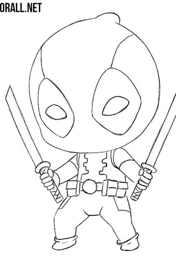 How To Draw Deadpool Cartooning Club Cute Kawaii Drawings Elsa Coloring Pages Disney Coloring Pages
