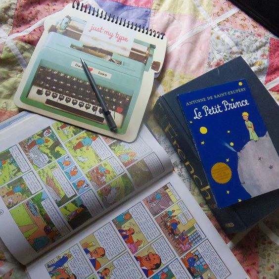 When you have random photography inspiration in the middle of studying French. .. . . . . . . #bookstagram #pastels #typewriternotebook #lepetitprince #french #tintin #jeparlefrançais #unpeu #booklove #pinksandblues #livres from my instagram @e.a.dannenbrink: