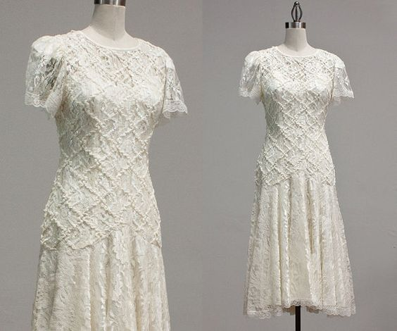 Vintage White Lace Ribbon Dress / Wedding Dress / by TheDressStory, $120.00