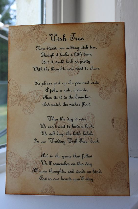 BUTTERFLY Wedding Wish Tree Poem Vintage Style Beautiful Design Handmade Unique