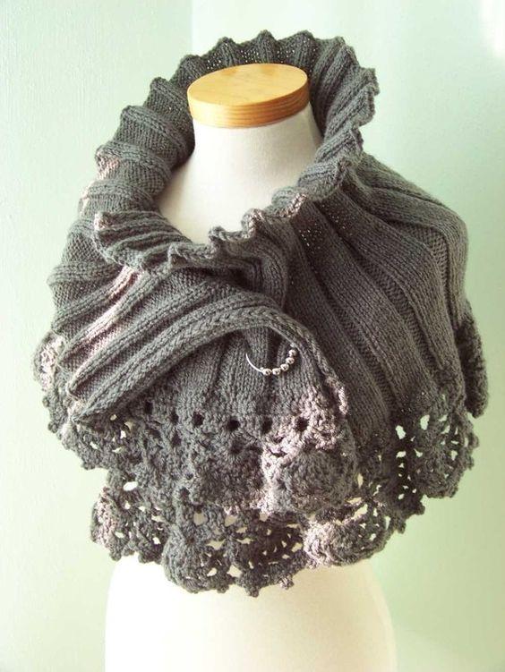 gorgeous grey lacy edged shrug