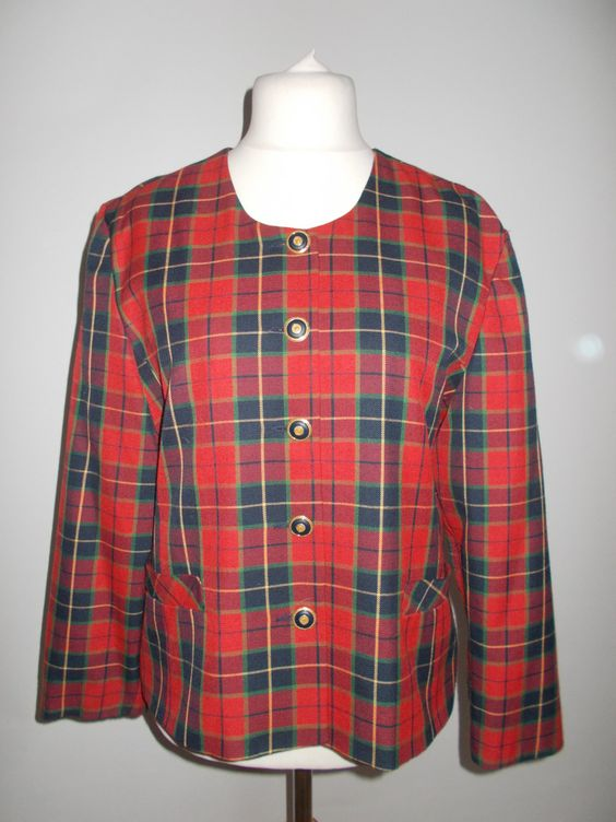 Vintage plaid tartan jacket red plaid collarless jacket size extra large by BidandBertVintage on Etsy