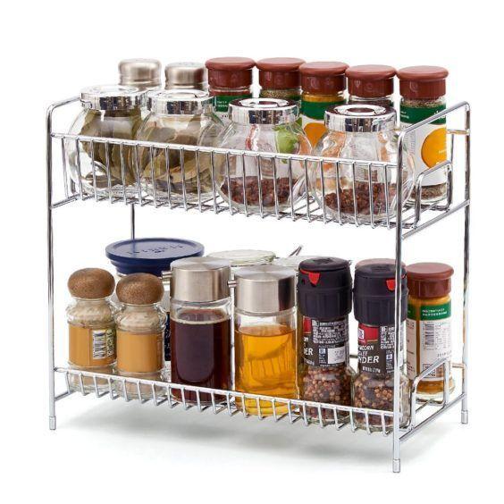 Chrome 2 Tier Organizer Spice Holder Rack Kitchen Countertop