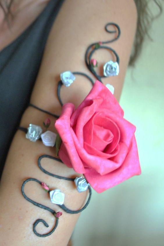 flower and vine upper arm cuff matching by InMyFairyGarden