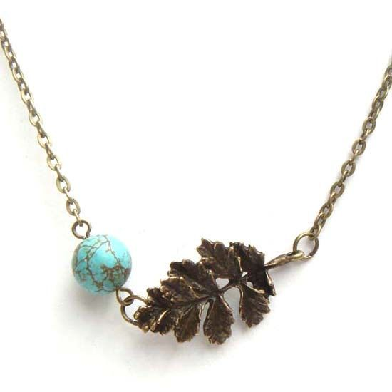 ON SALE - Antiqued Brass Leaf Green Turquoise NecklaceFrom gemandmetal