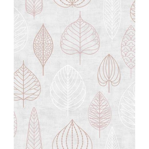 Nordic Leaf Floral Wallpaper Pink And Rose Gold Blush Pink Wallpaper Gold Wallpaper Rose Gold Wallpaper