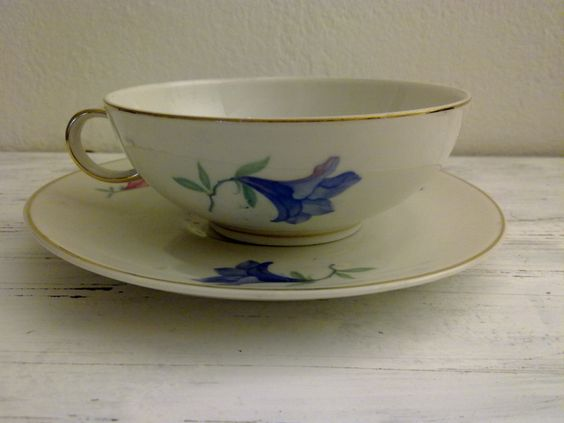vintage teacup with floral decorations and gold Verbano Laveno. italy  ceramics 1920. shipping special price !! !!!! (25.00 EUR) by vintageremember