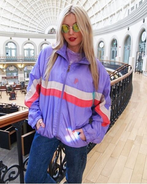 Girl wearing Shell suit top at the Leeds corn exchange, from Pinterest user