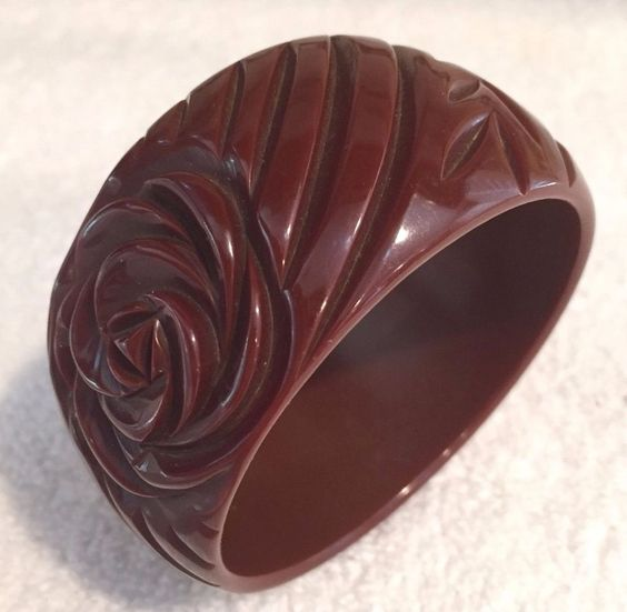 VINTAGE DEEP CHOCOLATE BROWN BAKELITE BRACELET W/ LARGE CARVED ROSE- STUNNING! #Bangle