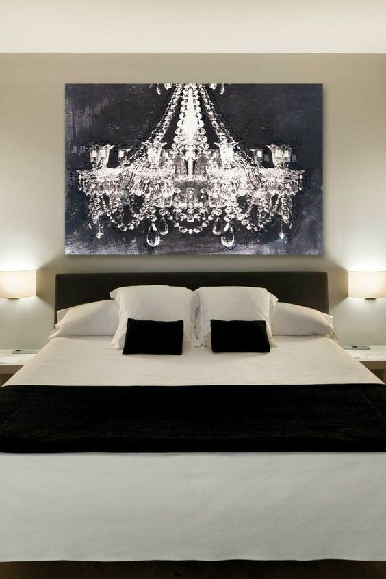 The Chandelier Art Gives Such A Romantic Touch To This Bedroom. Rather Than  Paying For An Expensive Chandelier, Give The Same Feel With A Piece Of U2026