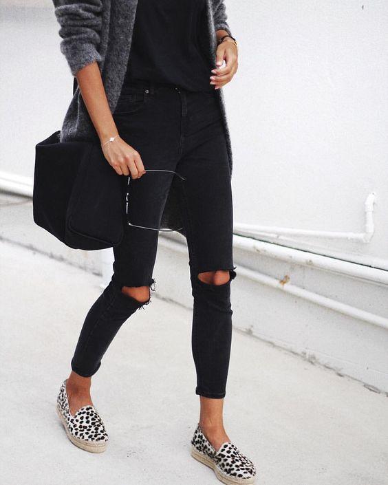 All black everything with Zara animal print espadrilles: