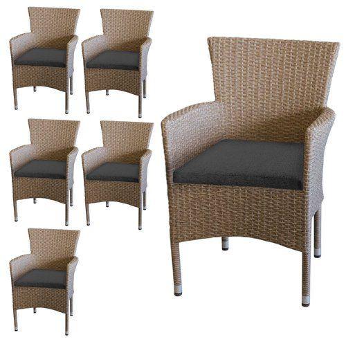 6 Polyrattan Sessel Nature Sitzkissen Grau Garten Terrasse Stapelstuhle Set Kaufen Bei Hood De Sitzkissen Grau Polyrattan Sessel Gartenmobel