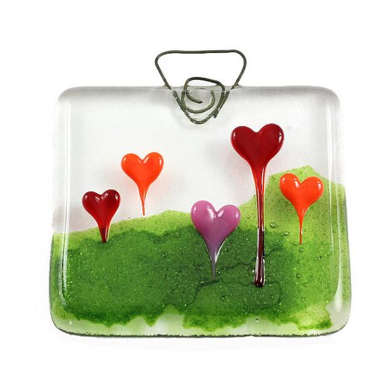 Heart Forest  Fused Glass Suncatcher by JanetCrosbyFirefly on Etsy