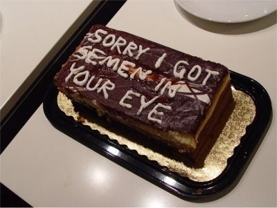 "sometimes only a cake will truly say ""i'm sorry"""
