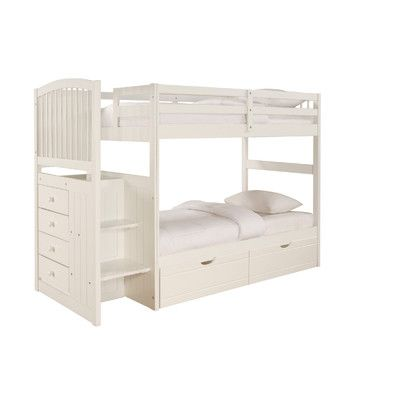 Powell Furniture Angelica Arch Spindle Chest End Twin over Twin Bunk Bed with Stairs $1,038 (Maybe two sets corner to corner for the kids room)