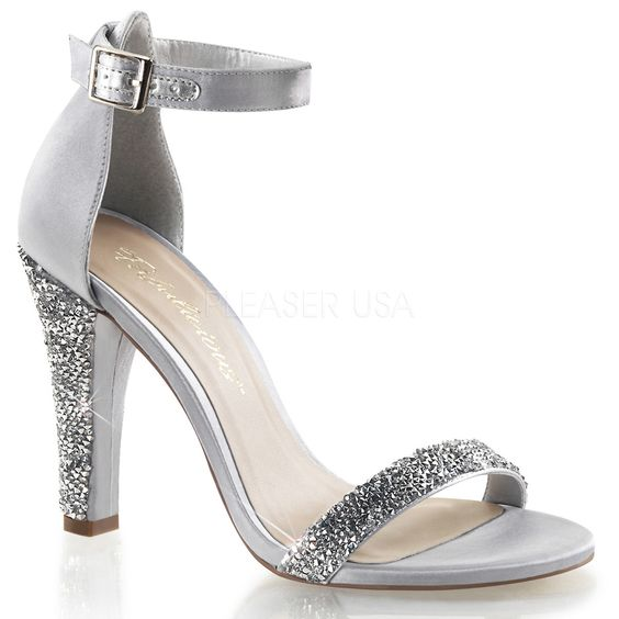 Silver 4 1/2 Inch Clear See-Through Heel Sandals w/ 1/4 Inch ...