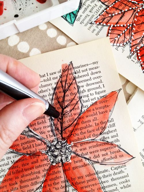 12 Amazing Book Crafts to Try   Mabey She Made It! Love the idea of watercolor and pen doodles! (Maybe themed doodles for scrapboo pages)