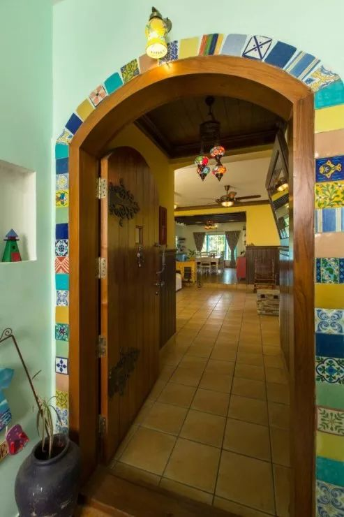 entrance decorated with colorful tiles