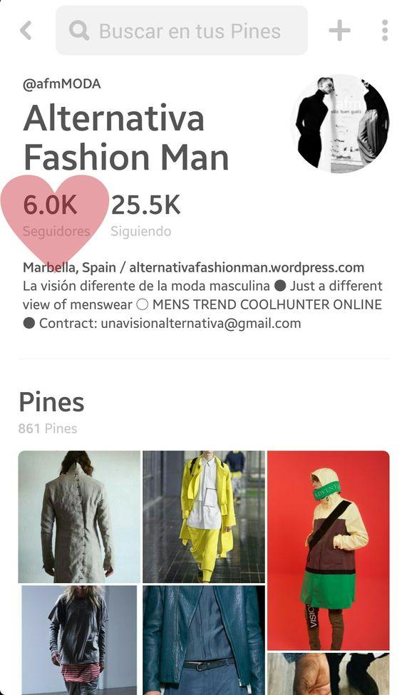 6k en PINTEREST nos siguen... Nos enamoran por eso UN CORAZÓN... #thank #alternativafashionman #pinterest #moda