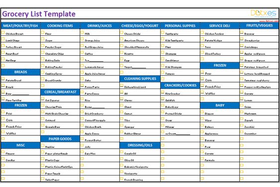 Basic contact list (Excel) List Templates - Dotxes Pinterest - grocery list template excel free download