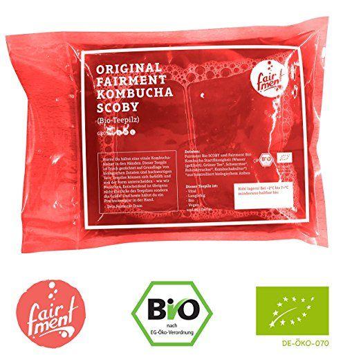 KOMBUCHA-TEEPILZ, extrem vital in Bio-Qualität für 1-5 Liter Kombucha-Getränk von Fairment® mit einfacher Anleitung, Rezept & Erfolgsgarantie