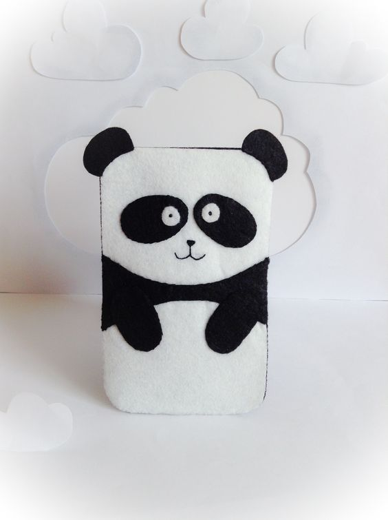 Funda de fieltro para móviles | Felt cover for mobile #bear #panda