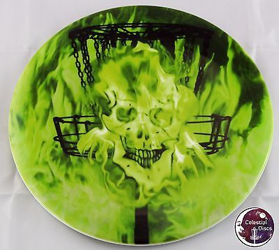 """Dynamic Discs Fuzion Felon Driver Brand: Dynamic Discs Mold: Felon Weight: 173g Plastic: fuzion Style: driver Color: white Stamp: """"Melting Inferno: Green"""" #??/10 Condition: Brand new!!! This is a Cele"""