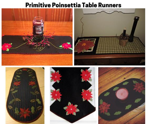 Primitive Poinsettia Table Runners