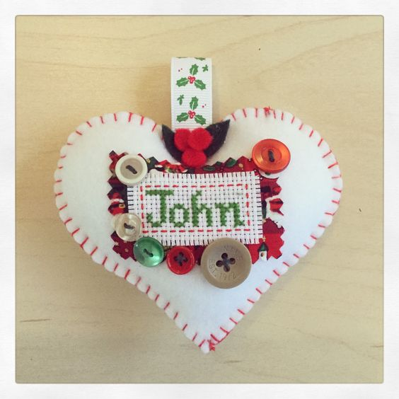 A personal favorite from my Etsy shop https://www.etsy.com/uk/listing/255963217/personalized-heart-christmas-decoration