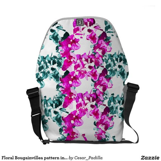 Floral Bougainvillea pattern in pink and blue Courier Bags. #Floral #Pink #Green