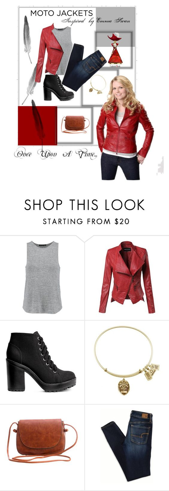 """Moto Jackets: Inspired By Emma Swan"" by madammalkin ❤ liked on Polyvore featuring rag & bone, Disney, Once Upon a Time, American Eagle Outfitters and onceuponatime"