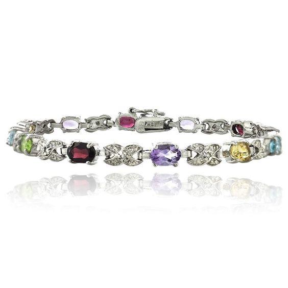 Glitzy Rocks 24k Goldplated Silver Gemstone Bracelet Women's
