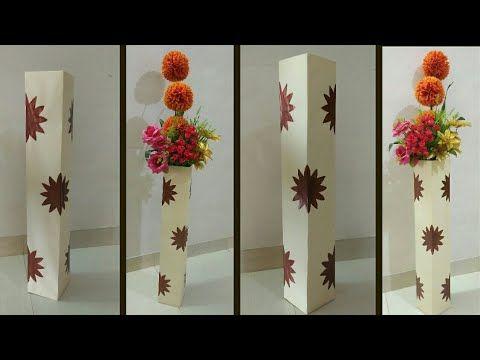 How To Make Flower Vase From Cardboard Diy Cardboard Flower Vase