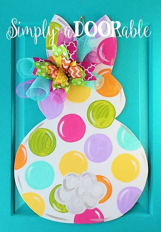 Easter Bunny Wood Door Hanger by Simply by SimplyaDOORableNC