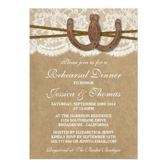 Rustic Horseshoe Wedding Rehearsal Dinner 5x7 Paper Invitation Card