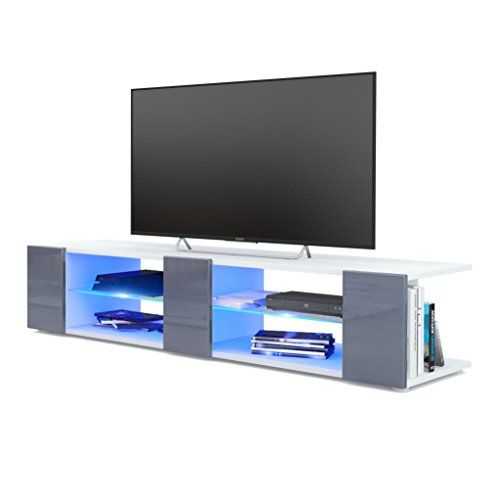 Vladon Meuble Tv Armoire Basse Movie V2 Corps En Blanc Mat Facades En Gris Haute Brillance Avec L Eclairage Led En Bleu En 2020 Eclairage Led Meuble Tv Table Basse Led