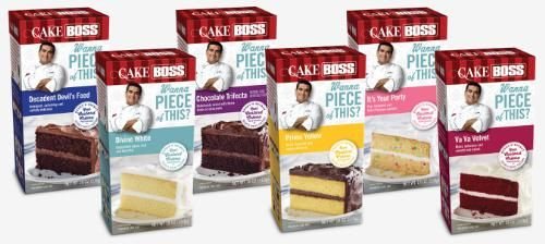 New Cake Boss cake mixes available in six delicious flavors: Va Va Velvet, It's Your Party, Decadent Devil's Food, Chocolate Trifecta, Primo Yellow and Devine White. Each cake mix comes with a pouch of bakery creme Buddy's secret to making velvety moist cakes.(PRNewsFoto/Dawn Foods, Inc.)