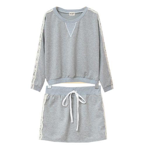Lace Joint Sport Sweatshirt Short Skirt Suit