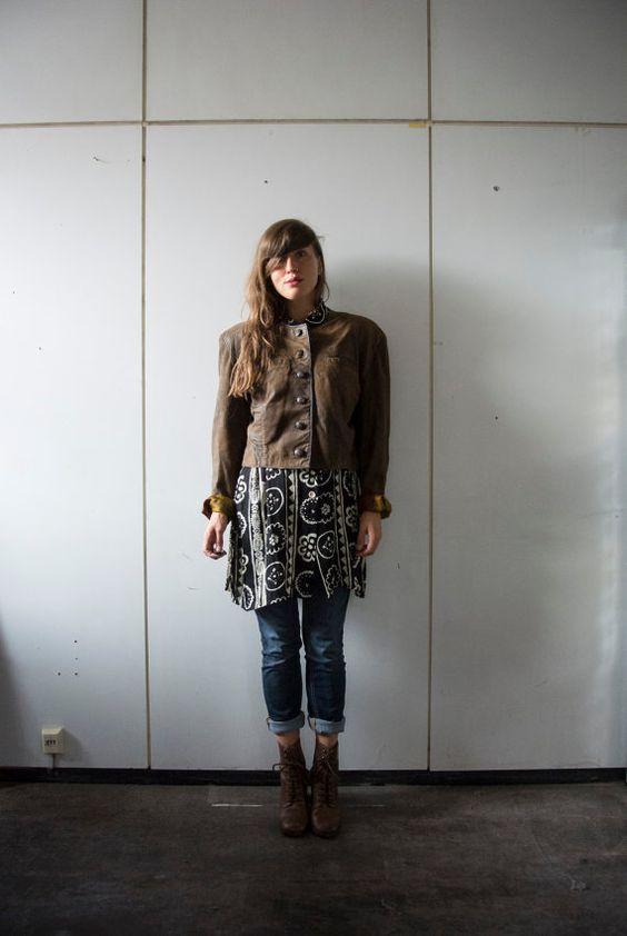 90er Vintage Leder Jacke // FOLKLORE von OLENKAvintage auf Etsy