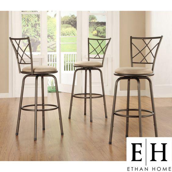 ETHAN HOME Avalon Quarter Cross Swivel Counter Barstool (Set of 3) | Overstock.com