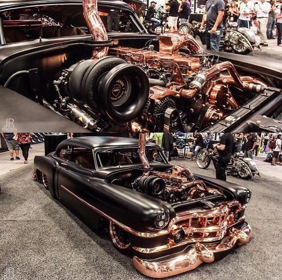 Hot Wheels - Oh man this 50 Cadillac via @hotrodrestorations is a weapon, loving that boosted diesel power and the copper accents!  @knoturavrjoey Source @moderndayhotrods #caddy #cadillac #americanmuscle #musclecar #stance #streetrod #layframe...