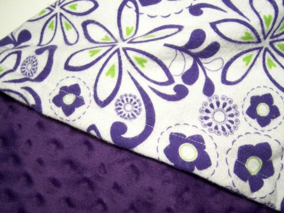 Minky Baby Blanket Toddler Blanket Purple And Lime Green Flowers Minky Girls Toddler Bedding