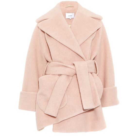 Carven Pink Oversize Asymmetric Wool-Blend Coat found on Polyvore