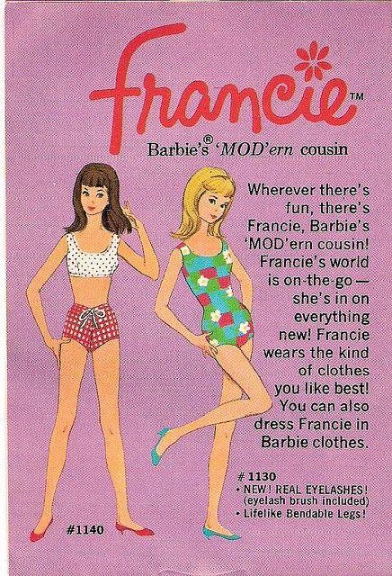 Francie prima de Barbie Catalogo 1130 y 1140 con piernas bendable como viva y verdaderas pestañas cepillo para pestañas incluido
