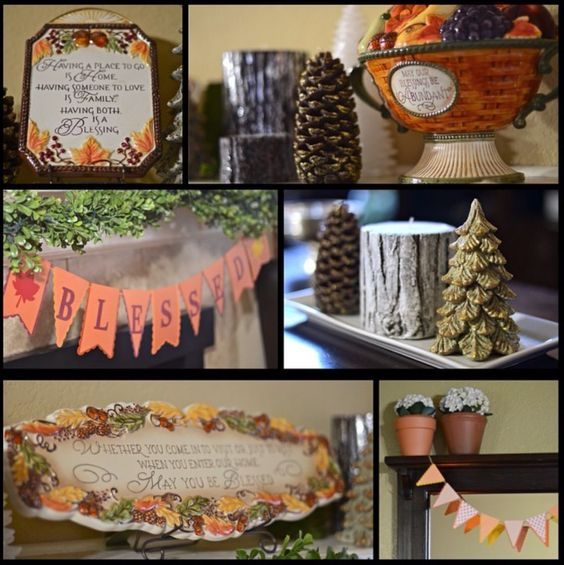 Blessed banner, thanksgiving centerpiece, Christmas tree, pine cone, fall mini banner, thankful, gratitude, give thanks