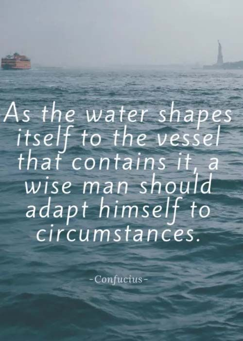 Always Shape Yourself Adapt To Circumstances Like Water Adaptation Quote Work Quotes Tagging Quotes
