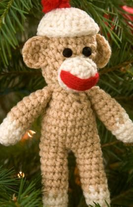 Sock Monkey Ornament Crochet Pattern - because you never know when you'll need to crochet a sock monkey :)
