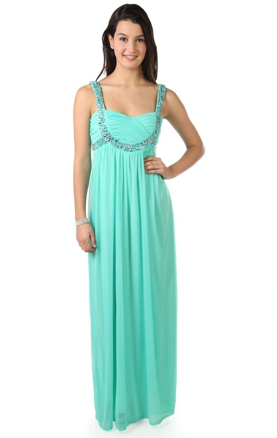 Deb Shops beaded stone #prom #dress with empire waist and baby doll accent design