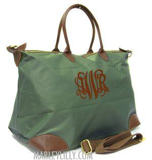Monogrammed Champ Olive Green Weekend Travel Bag