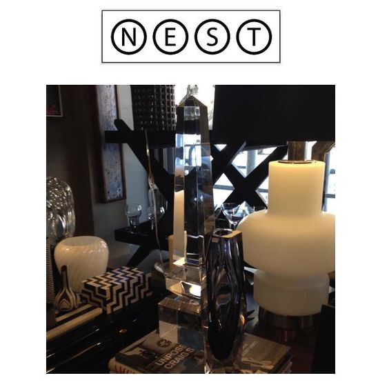 """Lucite Obelisks. Perfect for a """"Modern Downton Abbey"""" inspired room for Housing Works, """"Design on a Dime"""".  Check out more of their amazing goods online!  http://nestinteriorsny.com"""